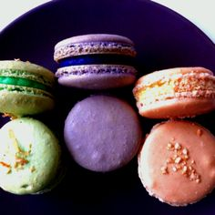 Macarons with a twist: All time filipino sweets Buko Pandan (Coconut), Ube(purple yam) and Sansrival (cashews and buttercream)