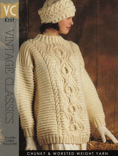 Gorgeous Aran pattern written for two versatile lengths Vintage Knitting, Hand Knitting, Pullover Mode, Vintage Classics, Chunky Wool, Girls Sweaters, Sweater Fashion, Pattern Fashion, Knitting Patterns