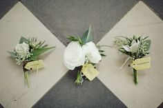 The groom's boutonniere will be white ranunculus, lamb's ear, seeded eucalyptus and a hint of burgundy leucadendron wrapped in ivory ribbon with the stems showing.  The rest of the boutonnieres will be similar except little hints of green hydrangeas instead of white ranunculus.