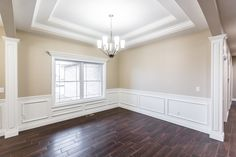 Dining room with custom coffered ceilings Job Pictures, Coffered Ceilings, Alcove, Living Area, Garage Doors, Tray, Bathtub, Dining Room, Outdoor Decor