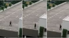 Footage shows a man pacing on the roof of the Munich shopping centre before pulling out a gun and firing a shot.