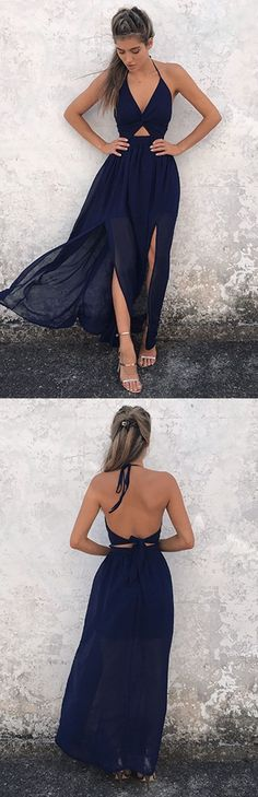 COLOUR + SPLIT + OPEN BACK A-Line Halter Prom Dresses, Backless V-Neck Evening Dress, Navy-Blue