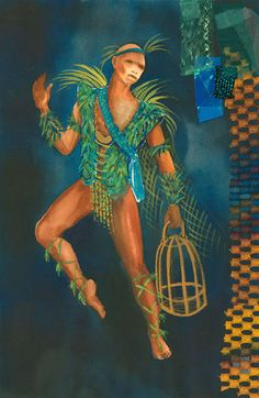 The Magic Flute (Papageno). Costume design by Laura Crow. Costume Design Sketch, The Magic Flute, Crow, Theater, Opera, Costumes, Painting, Raven, Opera House