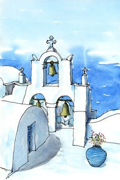 Santorini Oia 12  Greece art print from an original watercolor painting