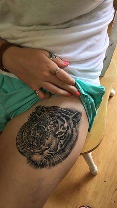 #tiger #tattoo #women #thigh #blue #mandala #realistic #detail