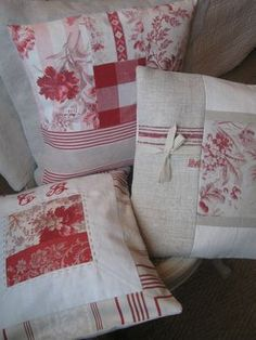 Patchwork Pillow Covers using a variety of red patterned fabrics. #sewing More