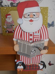 3D On the Shelf Card Kit   Christmas Santa relaxes with his Pipe  Slippers and…