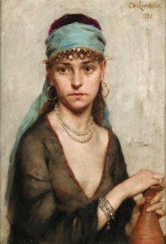 Charles LANDELLE (1821-1908) Portrait de femme Huile sur panneau, signée et dat