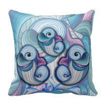 abstract dolphins throw pillow