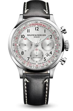 Cool silver and fiery red make for seductive sophistication on the Capeland 10005 chronograph by Baume et Mercier!