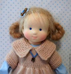 Купить Незабудка, 40 см - голубой, вальдорфская кукла, вальдорфская игрушка, игровая кукла