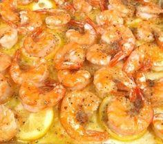 Lemon Butter Shrimp - melt butter, layer with sliced lemons, add shrimp tossed with italian seasoning & garlic and bake 15 minutes! Yum!