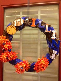 University of Illinois, Fighting Illini wreath.  Easy DIY project for the sports fan in your home.