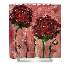 Roses Shower Curtain featuring the painting Old Fashioned by Mary Mirabal