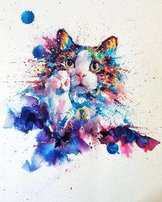 Watercolor cat art by Watercolor Art Diy, Watercolor Art Lessons, Watercolor Art Paintings, Watercolor Animals, Painting & Drawing, Arte Ganesha, Colorful Animals, Wow Art, Cat Drawing