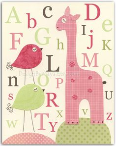 Nursery wall art print, Baby girl room decor, Alphabet ...Pink Giraffe.....bright pink light pink.
