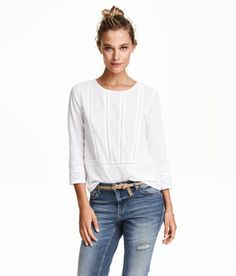 Check this out! Blouse in airy woven fabric with 3/4-length sleeves and hemstitching at front. - Visit hm.com to see more.