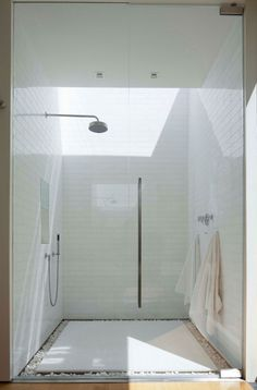 Love the white stones that surround the elevated slab of tiles on the shower floor.
