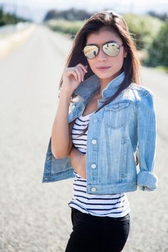 42 Gorgeous Spring Outfits with Denim Jacket - EveFashion Casual Summer Outfits, Spring Outfits, Cropped Denim Jacket, Stylish Sunglasses, Casual Jeans, Spring Fashion, Spring Summer, Spring Style, Fashion Outfits