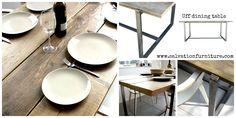 The Uff dining table - Rustic & gnarly wood meets girder-like steel framework. #reclaimedwood #reclaimedfurniture #diningtables #interiors #interiordesign #kitchenideas #kitchentables #industrialfurniture #modernrustic