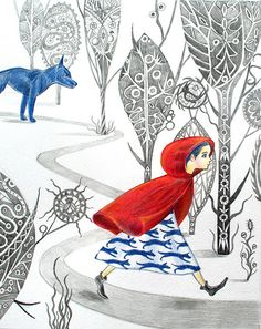 """Red"" by Sofia at Paisley Farm. Little Red Riding Hood, the Wolf. Red and blue color scheme."
