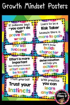 Encourage a Growth Mindset in your classroom with these bright and colourful Posters. There are a total of 12 Growth Mindset Posters. © Tales From Miss D