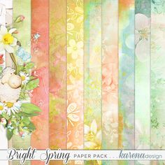 Bright Spring Paper Pack by karena design Bright Spring, Spring Collection, Quilts, Paper, Painting, Design, Products, Art, Comforters