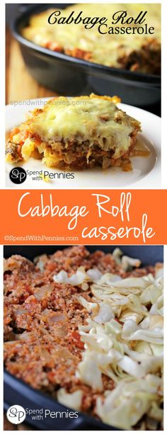 This Cabbage Roll Casserole recipes layers all of the delicious flavors of cabbage rolls without the rolling! Quick and easy comfort food! Great weeknight dinner!