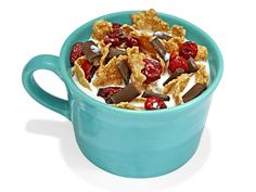 Nighttime Treat: Sleep better with Chocolate-y Cereal and Skim Milk! This bedtime snack contains trytophan (in the milk's protein), carbs (from the cereal), and melatonin (from the cherries)—all of which will make your brain sleepy, so you can doze off more easily! For more creative ideas for kids lunches visit https://www.facebook.com/SchoolLunchIdeas you may find something you 'LIKE'