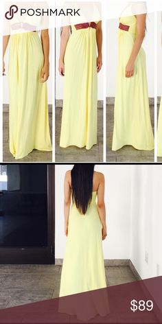 Sky yellow maxi summer dress small medium large Sky yellow maxi dress size small medium and large available  new without tags .. Please note the dress is new without tags and has been handled and tried  on in store the bottom hem might be a little dirty from being tried on Sky Dresses Maxi