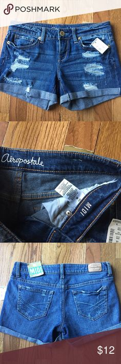 Distressed jean shorts BNWT distressed jean shorts by Aeropostale. Super cute with cuffed hems. Aeropostale Shorts Jean Shorts