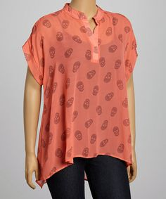 Love this Coral Skull Cape-Sleeve Top - Plus by Yummy on #zulily! #zulilyfinds