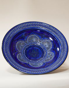 Moroccan Carved Plate in Blue Moroccan Plates, Moroccan Room, Moroccan Furniture, Moroccan Lighting, Dinner Ware, Artisan, Carving, Ceramics, Elegant
