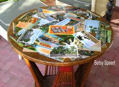 decoupage - great idea for vintage postcards and an old table (or a wooden tray)