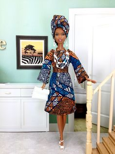 e7ea24841fd Barbie Doll Dress - African Inspired Patchwork Design Dress with Head-wrap