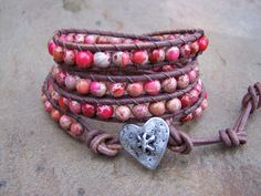 Be Mine Red Jasper Beaded Leather Wrap Bracelet by justhipstuff