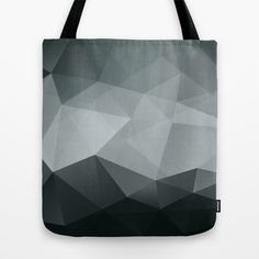 Triangle Polygon Black Grey White Pattern Tote Bag by The Motivated Type - $22.00