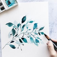 Likes, 47 Kommentare – Art Assistant Page (Gra … – # … - Aquarelllmalerei Watercolor Leaves, Watercolor And Ink, Watercolor Illustration, Watercolour Painting, Painting & Drawing, Watercolors, Watercolor Artists, Doodle Paint, Watercolor Projects