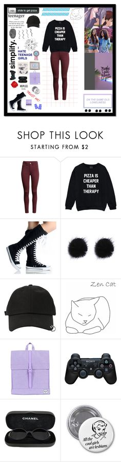 """""""Untitled #213"""" by xcaplooompx ❤ liked on Polyvore featuring H&M, StyleNanda, Herschel Supply Co., Sony and Chanel"""