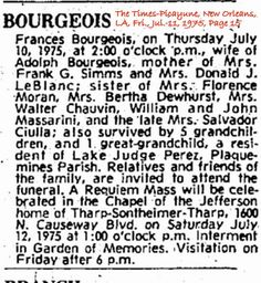 Bourgeois, Frances Julia Massarini Obituary