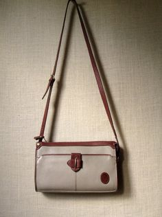 Crossbody Bag leather saddlebag preppy purse long strap taupe tan saddle  brown pebble grain vintage 90s crossbody purse Liz Claiborne a560c9befca03