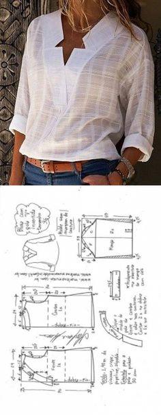 Sewing Blusas Blusa com decote V e gola invertida - DIY - molde, corte e costura - Marlene Mukai // Taika - Blusa com decote V e gola invertida - DIY - molde, corte e costura - Marlene Mukai Blouse Patterns, Clothing Patterns, Blouse Designs, Skirt Patterns, Coat Patterns, Clothing Ideas, Blouse Sewing Pattern, Sewing Dress, Diy Dress