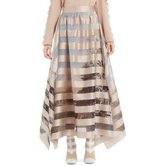 Women's Fendi Stripe Satin Organza Ball Skirt (2,650 CAD) ❤ liked on Polyvore featuring skirts, royal garden stripes, long formal skirts, brown maxi skirt, long satin skirt, long striped skirt and long brown skirt