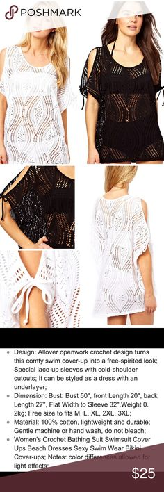 🔥Pre-Sale🔥OSFM Swim Coverup Black or white, fits most. See measurements above. Don't purchase until Thursday Swim Coverups