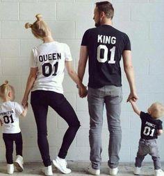 新しい家族王女王レタープリントシャツ、100%コットンtシャツ母と娘父息子服マッチング王女王子1-6y