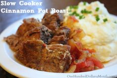 Slow Cooker Cinnamon Pot Roast Recipe on $100 A Month at http://www.onehundreddollarsamonth.com/slow-cooker-cinnamon-pot-roast/