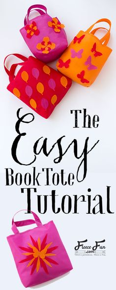 Learn how to make a book tote with these simple and clear step by step instructions. This easy sewing DIY is a great craft for kids to decorate. It's also a beginner friendly pattern. Find the book bag tutorial here. Sewing Classes For Beginners, Quilting For Beginners, Sewing Projects For Beginners, Diy Projects, Sewing Basics, Sewing Hacks, Sewing Tutorials, Sewing Ideas, Love Sewing