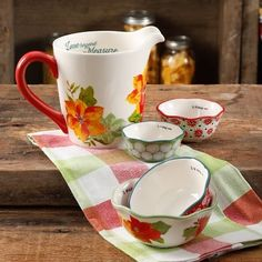 The Pioneer Woman Poinsettia Holiday 5 Piece Measuring Prep Set Nib Pioneer Woman Bakeware, Pioneer Woman Kitchen, Poinsettia, Dinnerware, Prepping, Tableware, Kitchenware, Holiday, Christmas
