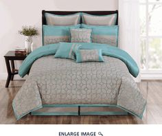 9 Piece Cal King Diamante Aqua and Taupe Comforter Set