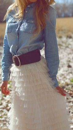 chambray + tulle   adorable for a country wedding ♥                                                                                                                                                                                 More